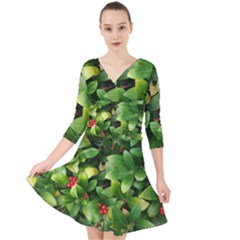 Christmas Season Floral Green Red Skimmia Flower Quarter Sleeve Front Wrap Dress