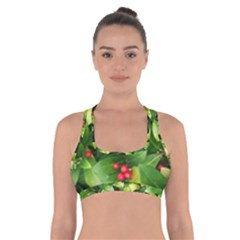 Christmas Season Floral Green Red Skimmia Flower Cross Back Sports Bra