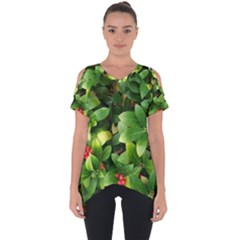 Christmas Season Floral Green Red Skimmia Flower Cut Out Side Drop Tee