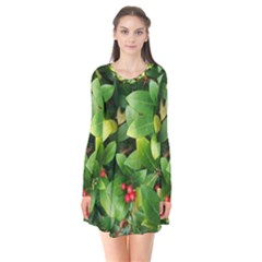 Christmas Season Floral Green Red Skimmia Flower Flare Dress