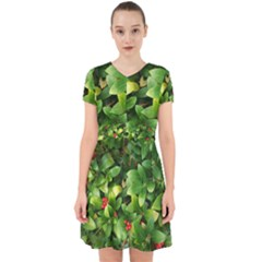 Christmas Season Floral Green Red Skimmia Flower Adorable In Chiffon Dress