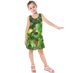 Christmas Season Floral Green Red Skimmia Flower Kids  Sleeveless Dress