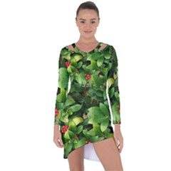 Christmas Season Floral Green Red Skimmia Flower Asymmetric Cut Out Shift Dress