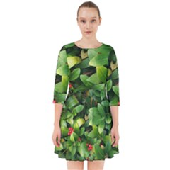 Christmas Season Floral Green Red Skimmia Flower Smock Dress