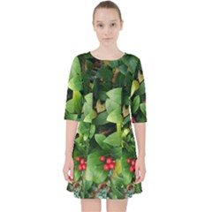 Christmas Season Floral Green Red Skimmia Flower Pocket Dress