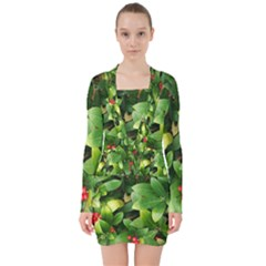 Christmas Season Floral Green Red Skimmia Flower V Neck Bodycon Long Sleeve Dress