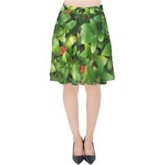 Christmas Season Floral Green Red Skimmia Flower Velvet High Waist Skirt