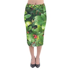 Christmas Season Floral Green Red Skimmia Flower Velvet Midi Pencil Skirt