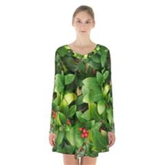 Christmas Season Floral Green Red Skimmia Flower Long Sleeve Velvet V Neck Dress