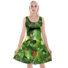 Christmas Season Floral Green Red Skimmia Flower Reversible Velvet Sleeveless Dress