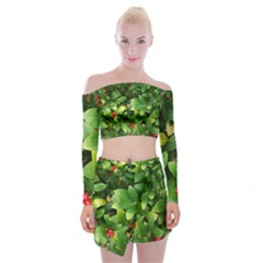 Christmas Season Floral Green Red Skimmia Flower Off Shoulder Top With Mini Skirt Set