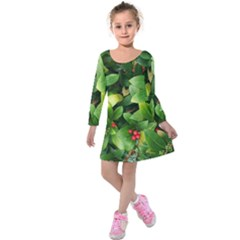 Christmas Season Floral Green Red Skimmia Flower Kids  Long Sleeve Velvet Dress