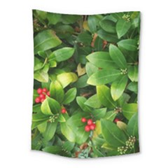 Christmas Season Floral Green Red Skimmia Flower Medium Tapestry