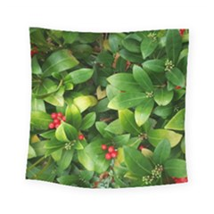 Christmas Season Floral Green Red Skimmia Flower Square Tapestry (small)