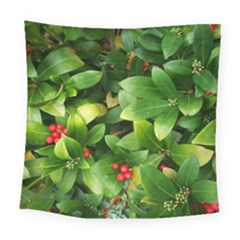 Christmas Season Floral Green Red Skimmia Flower Square Tapestry (large)