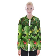 Christmas Season Floral Green Red Skimmia Flower Womens Long Sleeve Shirt