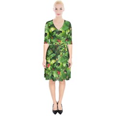 Christmas Season Floral Green Red Skimmia Flower Wrap Up Cocktail Dress