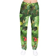 Christmas Season Floral Green Red Skimmia Flower Drawstring Pants