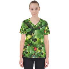 Christmas Season Floral Green Red Skimmia Flower Scrub Top