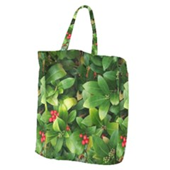 Christmas Season Floral Green Red Skimmia Flower Giant Grocery Zipper Tote