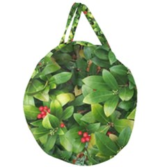 Christmas Season Floral Green Red Skimmia Flower Giant Round Zipper Tote