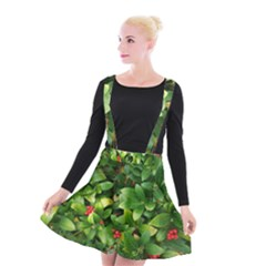 Christmas Season Floral Green Red Skimmia Flower Suspender Skater Skirt