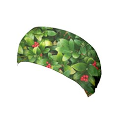 Christmas Season Floral Green Red Skimmia Flower Yoga Headband