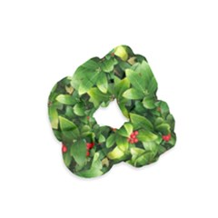 Christmas Season Floral Green Red Skimmia Flower Velvet Scrunchie