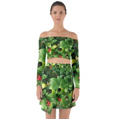 Christmas Season Floral Green Red Skimmia Flower Off Shoulder Top With Skirt Set