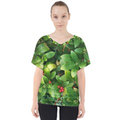 Christmas Season Floral Green Red Skimmia Flower V Neck Dolman Drape Top