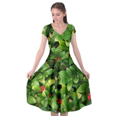 Christmas Season Floral Green Red Skimmia Flower Cap Sleeve Wrap Front Dress