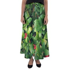 Christmas Season Floral Green Red Skimmia Flower Flared Maxi Skirt