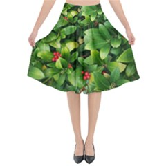 Christmas Season Floral Green Red Skimmia Flower Flared Midi Skirt