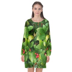 Christmas Season Floral Green Red Skimmia Flower Long Sleeve Chiffon Shift Dress
