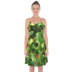 Christmas Season Floral Green Red Skimmia Flower Ruffle Detail Chiffon Dress