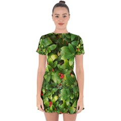 Christmas Season Floral Green Red Skimmia Flower Drop Hem Mini Chiffon Dress