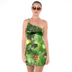 Christmas Season Floral Green Red Skimmia Flower One Soulder Bodycon Dress