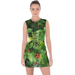 Christmas Season Floral Green Red Skimmia Flower Lace Up Front Bodycon Dress