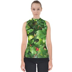 Christmas Season Floral Green Red Skimmia Flower Shell Top