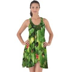 Christmas Season Floral Green Red Skimmia Flower Show Some Back Chiffon Dress