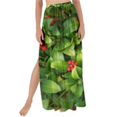 Christmas Season Floral Green Red Skimmia Flower Maxi Chiffon Tie Up Sarong