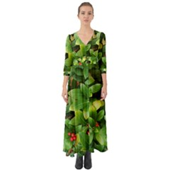 Christmas Season Floral Green Red Skimmia Flower Button Up Boho Maxi Dress