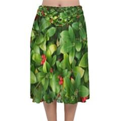 Christmas Season Floral Green Red Skimmia Flower Velvet Flared Midi Skirt