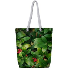 Christmas Season Floral Green Red Skimmia Flower Full Print Rope Handle Bag (small)