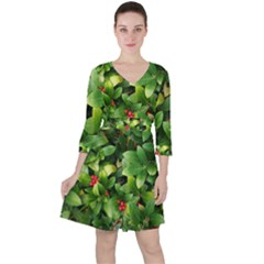 Christmas Season Floral Green Red Skimmia Flower Ruffle Dress