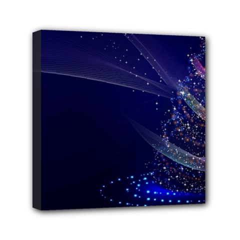 Christmas Tree Blue Stars Starry Night Lights Festive Elegant Mini Canvas 6  X 6