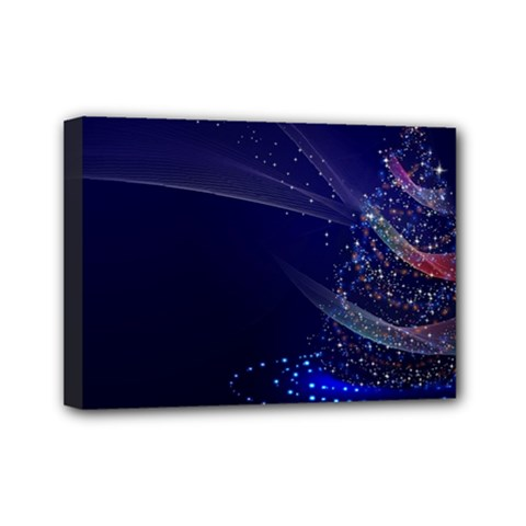 Christmas Tree Blue Stars Starry Night Lights Festive Elegant Mini Canvas 7  X 5