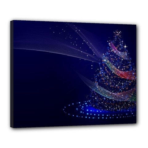 Christmas Tree Blue Stars Starry Night Lights Festive Elegant Canvas 20  X 16