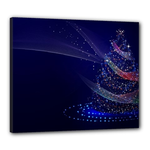 Christmas Tree Blue Stars Starry Night Lights Festive Elegant Canvas 24  X 20
