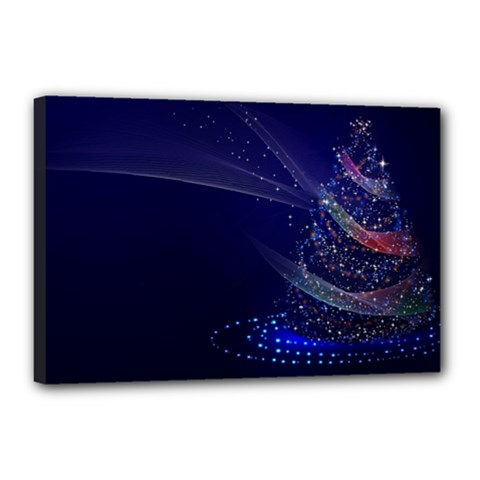 Christmas Tree Blue Stars Starry Night Lights Festive Elegant Canvas 18  X 12